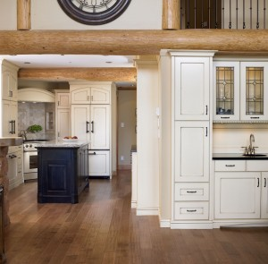 Elegant kitchen in rustic log style ski mansion