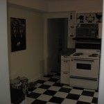 Kitchen with 50's diner style checkerboard floor