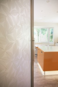 Peek-a-Boo into the kitchen - Magnolia leaves in resin translucent door panel